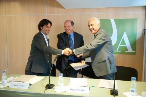 Xavier Prats_degà COEA_Daniel Bastida_rector UdA_Daniel Faura_president CCJCC